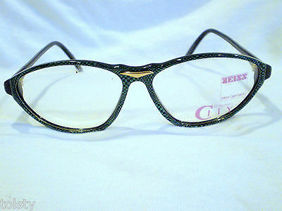 Vintage  Eyeglasses Zeiss City Collection Green Snake Black Gold  West Germany