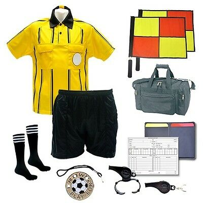 Referee Soccer Package Short Flag Whistles Duffel Bag Yellow Jersey Size Medium