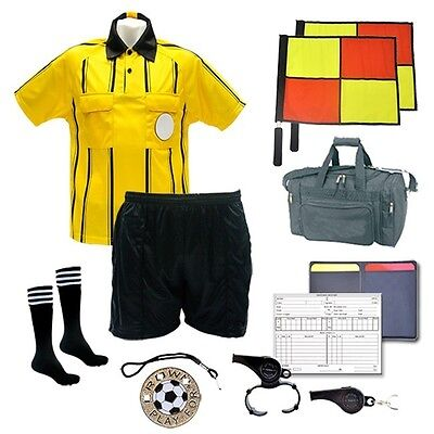 Referee Soccer Package Short Flag Whistle Duffel Bag Yellow Jersey Size XX Large