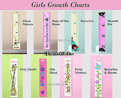 KIDS CHILDS GROWTH CHART HEIGHT Measuring WALL CANVAS Banner Personalized w Name