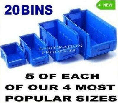 20 New Blue Plastic Stacking Parts Storage  Bins In 4 Sizes Great Quality