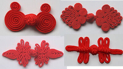 Chinese Frogs closure buttons 4 different styles red 12pcs handmade