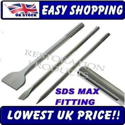 Sds Max 50Mm Wide Chisel Point Steel Set -  Set Of 3  - Free Delivery