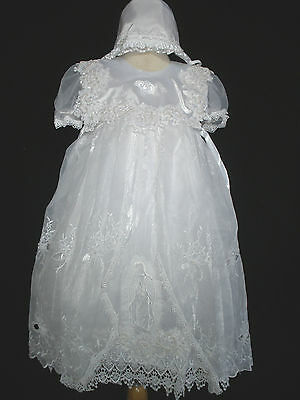 New Baby Girl & Toddler Christening Baptism formal Dress Gown size: 18M-30 M