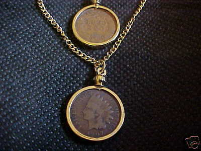 "Indian Head Penny Necklace With 18"" Chain 100 Yrs+"