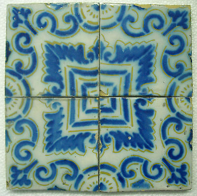 FRANCE ANTIQUE TILE - PAS DE CALAIS - 4 TILES SET c1870