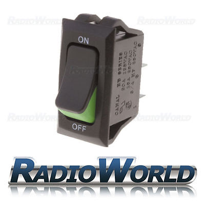 Black Rocker Switch 16A 250V SPST ON - OFF Green ON Indicator 12V