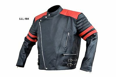 Mens leather stripes motorcycle jacket brand new LLL-184