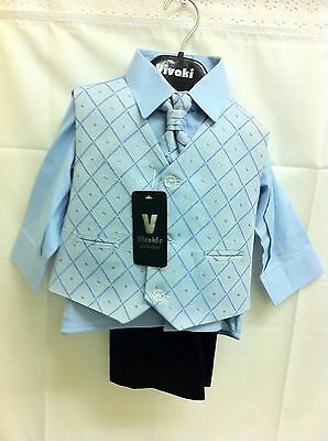 4Pcs Trousers, Waistcoat, Shirt and Tie/Cravat Boys suit