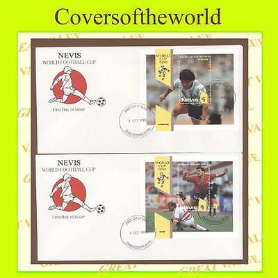 Nevis 1990 World Cup Football miniature sheet on two First Day Covers