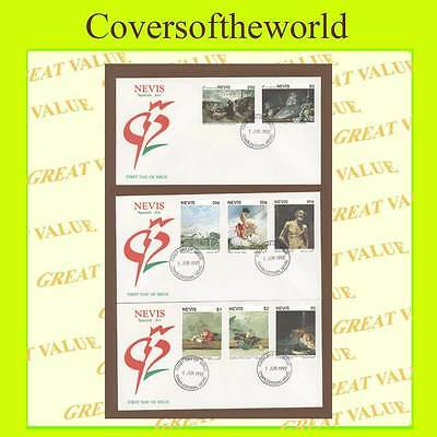 Nevis 1992 Spainsh Paintings set on three First Day Covers