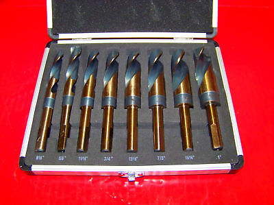 "8 pc Jumbo Silver and deming Industrial Cobalt  drill bit set 1/2"" Reduced Shank"