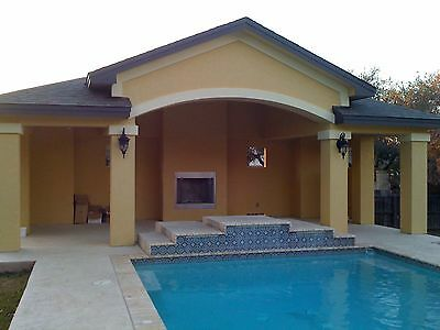 Pool House / Cabana / Outdoor BBQ Kitchen / Living  with Fireplace, 30' x 15'