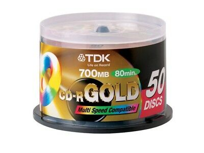 50 TDK Gold Blank CD-R media 52X CD -R CDR Original Factory Seal CD R CDR AP-C