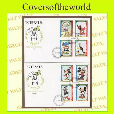 Nevis 1992 Disney-Mickeys potrait Gallery set on two First Day Covers