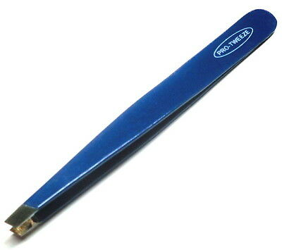 "New 3.5"" Eyebrow Tweezers SLANTED Precision Tip - BLUE - SOLID CLASSIC Design"