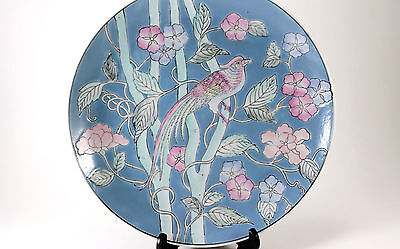 Vintage Oriental Floral Bird Design Asian Chinese Blue Plate Platter Deco Dish