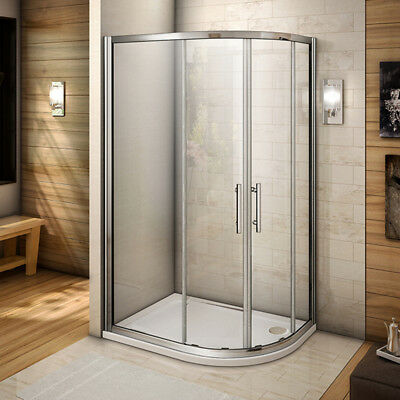 900x800mm Quadrant Shower Enclosure Walk In Glass Cubicle Stone Tray Right Entry