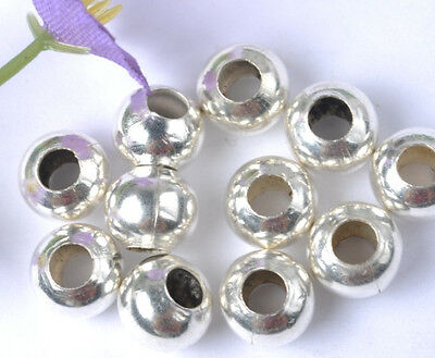 1000pc silver plated metal round beads spacer 4MM SH208