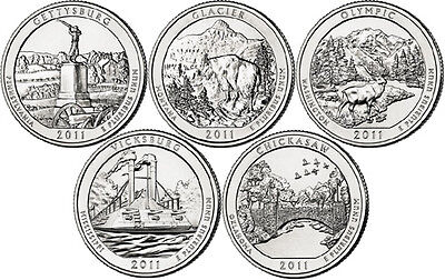 2011 P D Gettysburg - CHICKASAW NATIONAL PARK QUARTER All SETS 10 CLAD COINS ATB