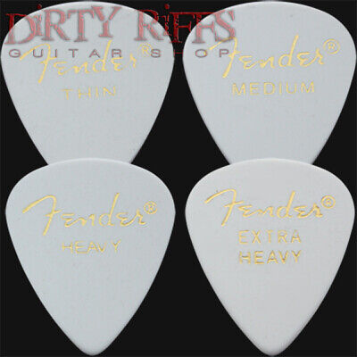 12 x Fender Classic Celluloid Guitar Picks White - Thin, Medium or Heavy
