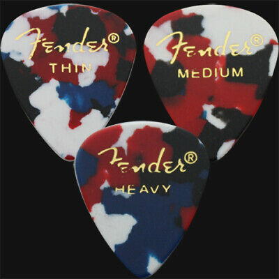 12 x Fender Classic Celluloid Guitar Picks In Confetti - 3 Of Each Size