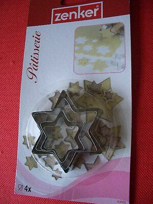 Zenker Patisserie 4 X Star Shaped Cookie / Pastry Moulds *NEW*