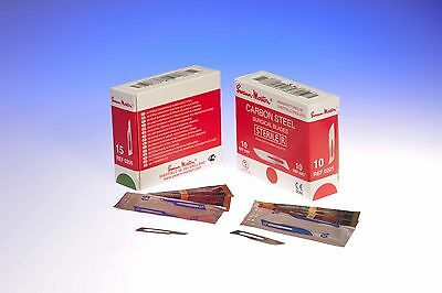 100 x SWANN MORTON No.15C SCALPELS CARBON STEEL STERILE ideal for ORAL SURGERY