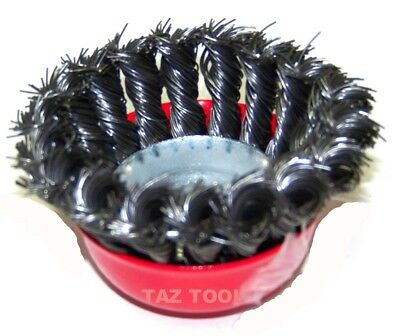"4 pcs 3"" Twist Cup Wire Wheel Brush 5/8"" Arbor H-D Fits Most Angle grinders"
