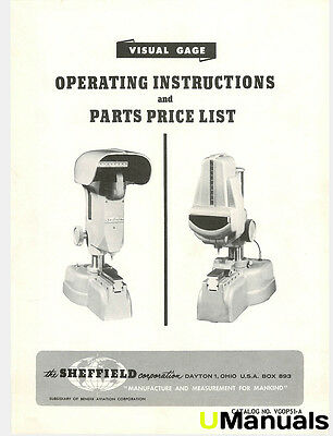 Sheffield Visual Gage Instruction and Parts Manual