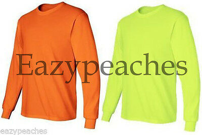 12 LONG SLEEVE T-SHIRTS 6 SAFETY GREEN 6 SAFETY ORANGE BULK LOT S-XL Gildan 2400