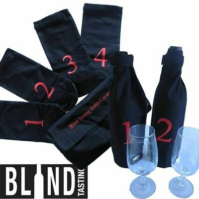 Blind Wine Tasting Kit 4 Numbered Bottle Covers Wine Taste Party Red White Wine