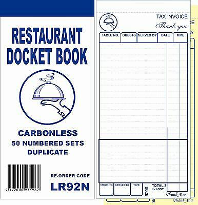 100 Restaurant Docket Book (without word DRINKS) - Duplicate Carbonless