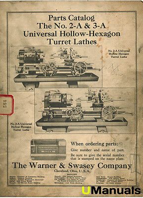 Warner & Swasey 2-A 3-A Turret Lathe Parts Manual