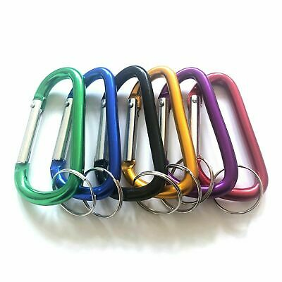 "New 4pc 2-3/4"" 70mm Aluminum Carabiner D-Ring Key Chain Clip Hook Assorted Color"