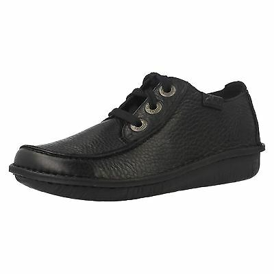Ladies Clarks Funny Dream Black Leather Casual Lace Up Shoes