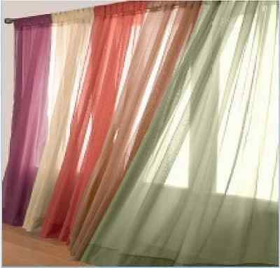 """2PC Solid Sheer voile window panels curtain OR 1PC scarf valance 37X216"""""""