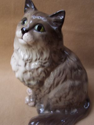 Vintage Large Beswick Made In England Grey Persian Cat  Perfect