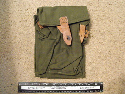 Romanian Green Canvas Long  3-Mag Pouch,Used cond