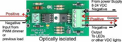 Repeater / Amplifier for LED dimmer PWM 8 V to 24 V DC , 10 Amps  Made in USA