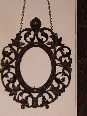 """Victorian Era Metal Hanging Picture Frame, 10"""" x 8 1/2"""", Heavy"""