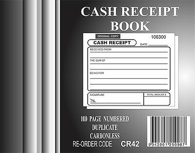 20x 100 Page numbered Cash Receipt Book Duplicate Carbonless
