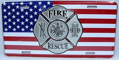 Fire Rescue License Plate Car Truck Tag Fireman Firefighter American Flag