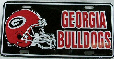 Black University Of Georgia License Plate Car Truck Tag Bulldogs Football Helmet
