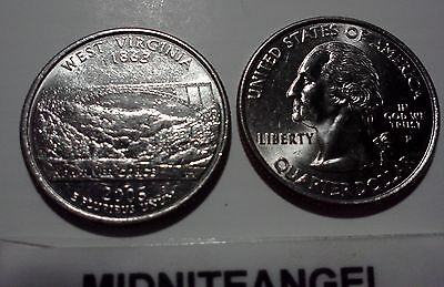 2005 P&D WEST VIRGINIA STATE QUARTERS US MINT WV COINS USA COINS FROM US MINT