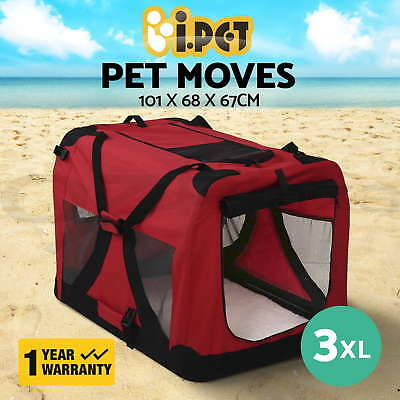 iPET Pet Soft Crate Dog Cat Portable Carrier Cage Kennel Folding XXXL Red