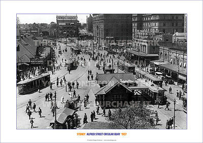 CIRCULAR QUAY SYDNEY 1928 TRAMS FERRIES HERITAGE A3 POSTER PRINT PICTURE PHOTO x