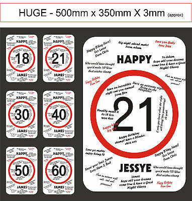 BIRTHDAY PARTY GIFT-CUSTOM DESIGN AUTOGRAPH SPEED SIGN-18th,21st,30th,40th,50th