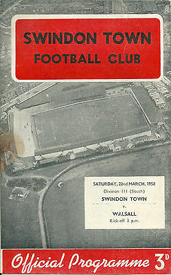 Swindon Town V Walsall ~ 22 March 1958