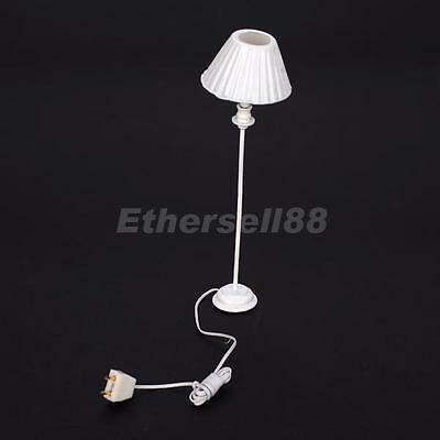 1:12 Scale Working Floor Lamp White Shell Shade Doll House Miniature Light 9-12V